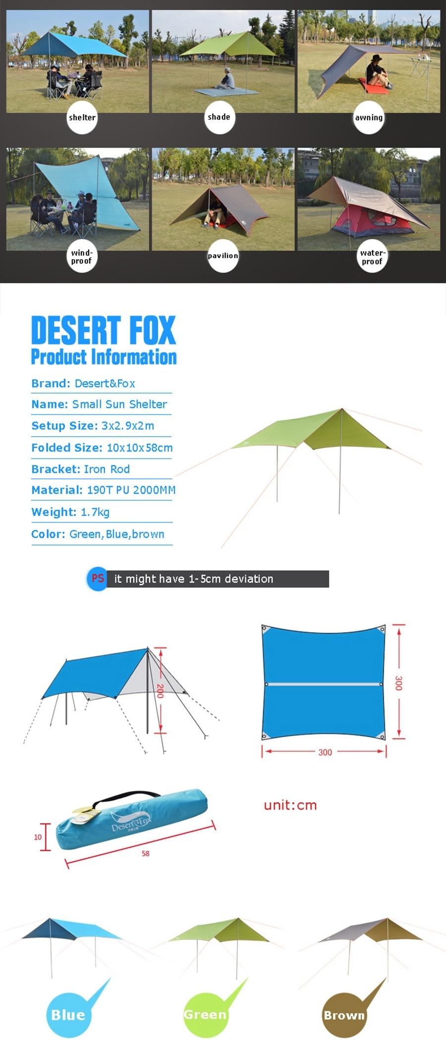 Desert & Fox ฟลายชีท กันแดด กันฝน พร้อมขาตั้ง