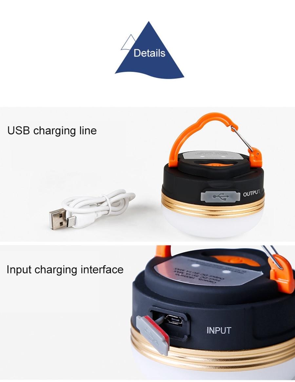 Desert & Fox ไฟเต็นท์ชาร์จไฟด้วย USB มีแบตเตอรี่ในตัว ปรับโหมดเป็น Power Bank ได้